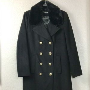 NEW Karl Lagerfeld Black Long Coat Fur Collar L